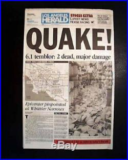 SOUTHERN CALIFORNIA Whitter Narrows Los Angeles County EARTHQUAKE 1987 Newspaper