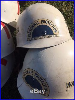 Set of 7 Helmets, Los Angeles County Personal Protection, FIRE, WARDEN, CO ORD