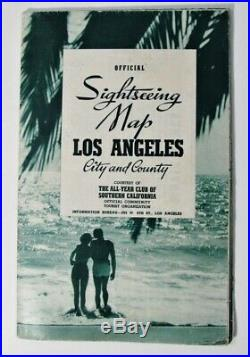 Sightseeing Map Los Angeles City County All Year Club Of Southern California