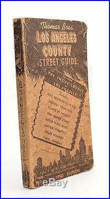 Thomas Bros Los Angeles County Street Guide 1950 California Map Vtg City Atlas