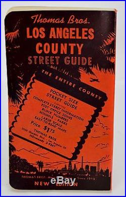 Thomas Bros. Los Angeles County Street Guide Vintage 1955 Pocket Size Mint