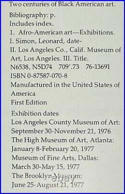 Two Centuries of Black American Art Driskell & Simon 1st Ed. SC LA County Museum