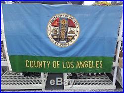 VINTAGE 4' x 6' LOS ANGELES COUNTY FLAG! FREE SHIP! RARE LOWRIDER