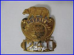 VINTAGE NOVELTY COUNTY OF LOS ANGELES SHERIFF BADGE PIN With BEAR