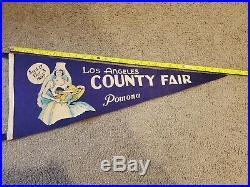 Vintage 1937 Los Angeles County Fair Pomona CA. Felt Pennant Banner 30