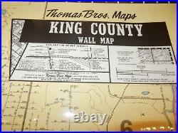 Vintage 1988 Thomas Brothers Hanging Wall Map King County WA Laminated 7' x 4.5