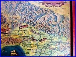Vintage Cartoon Map Spanish Mexican Ranchos Of Los Angeles County By Eddy 1937