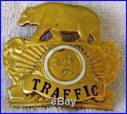 Vintage LASD Los Angeles County TRAFFIC Sheriff METALLIC HAT EMBLEM California