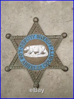 Vintage Los Angeles County California Sheriffs Deputy Cast Aluminum Sign 12