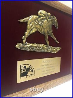 Vtg 1990 Horse Racing Trophy Award Plaque Los Angeles County Fair Modest